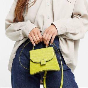 Lime green croc-like mini purse